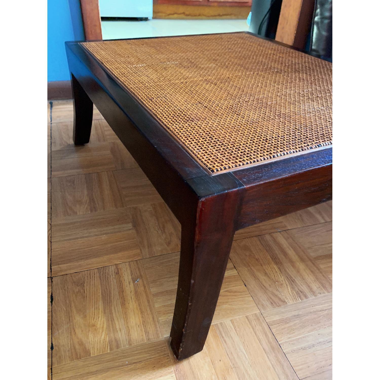 Crate & Barrel Rattan Blake Lounge Leather Chairs & Ottoman - image-10