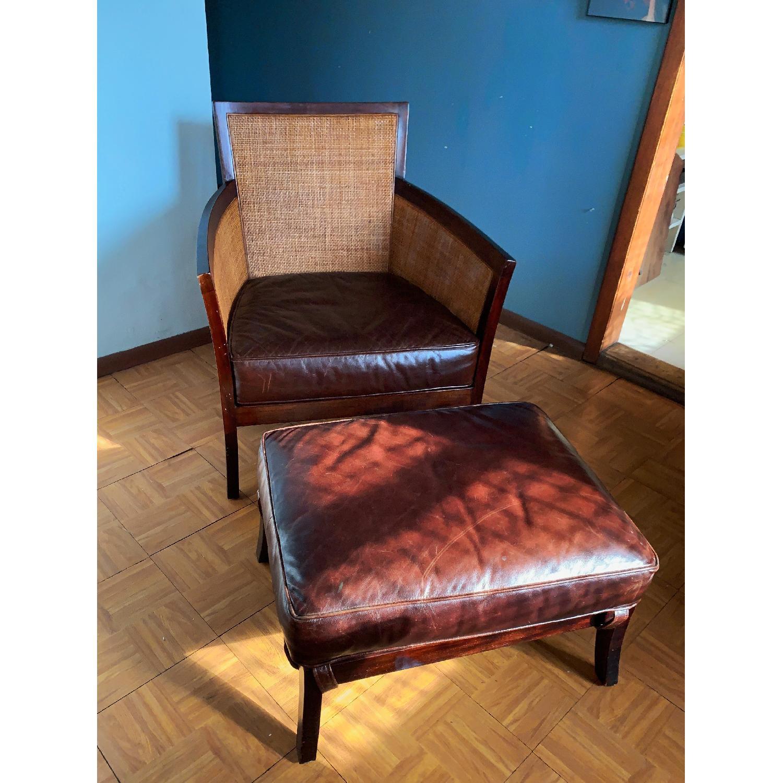 Crate & Barrel Rattan Blake Lounge Leather Chairs & Ottoman - image-11