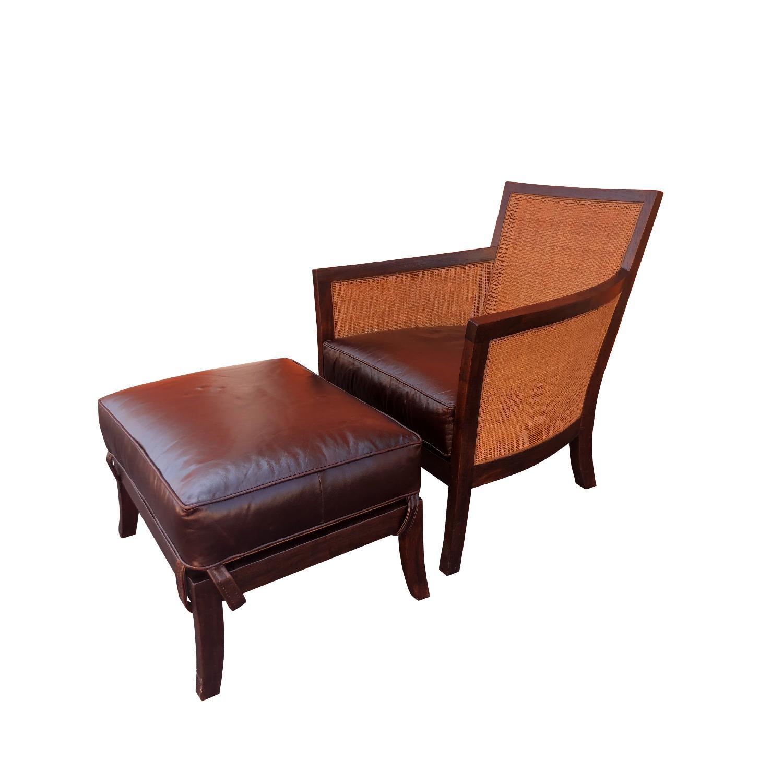 Crate & Barrel Rattan Blake Lounge Leather Chairs & Ottoman - image-0