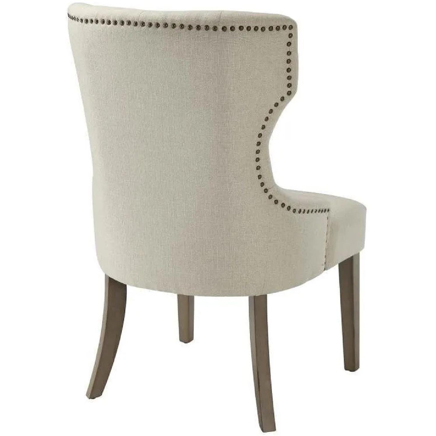 Dining Chair In Beige Fabric w/ Tufted Button & Nailheads - image-1