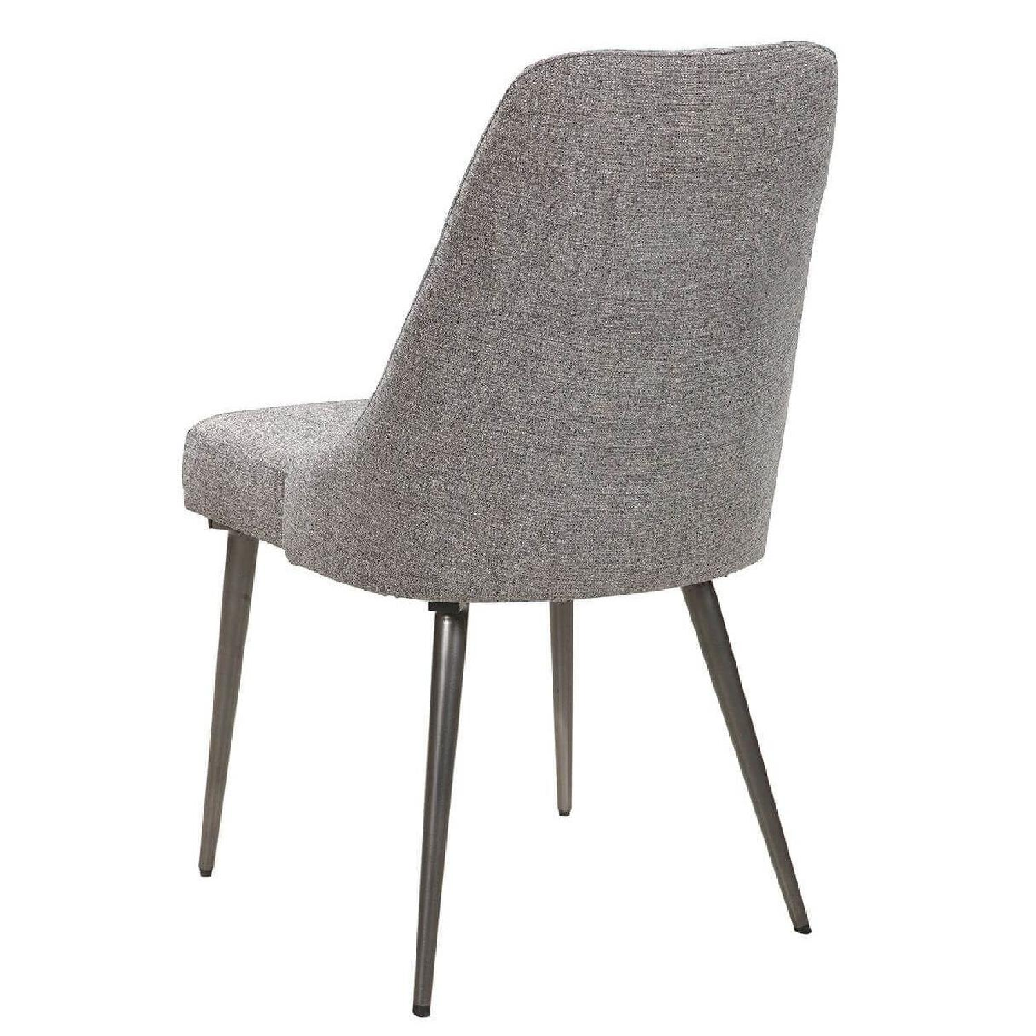Dining Chair In Beige Fabric w/ Tufted Button & Nailheads - image-10