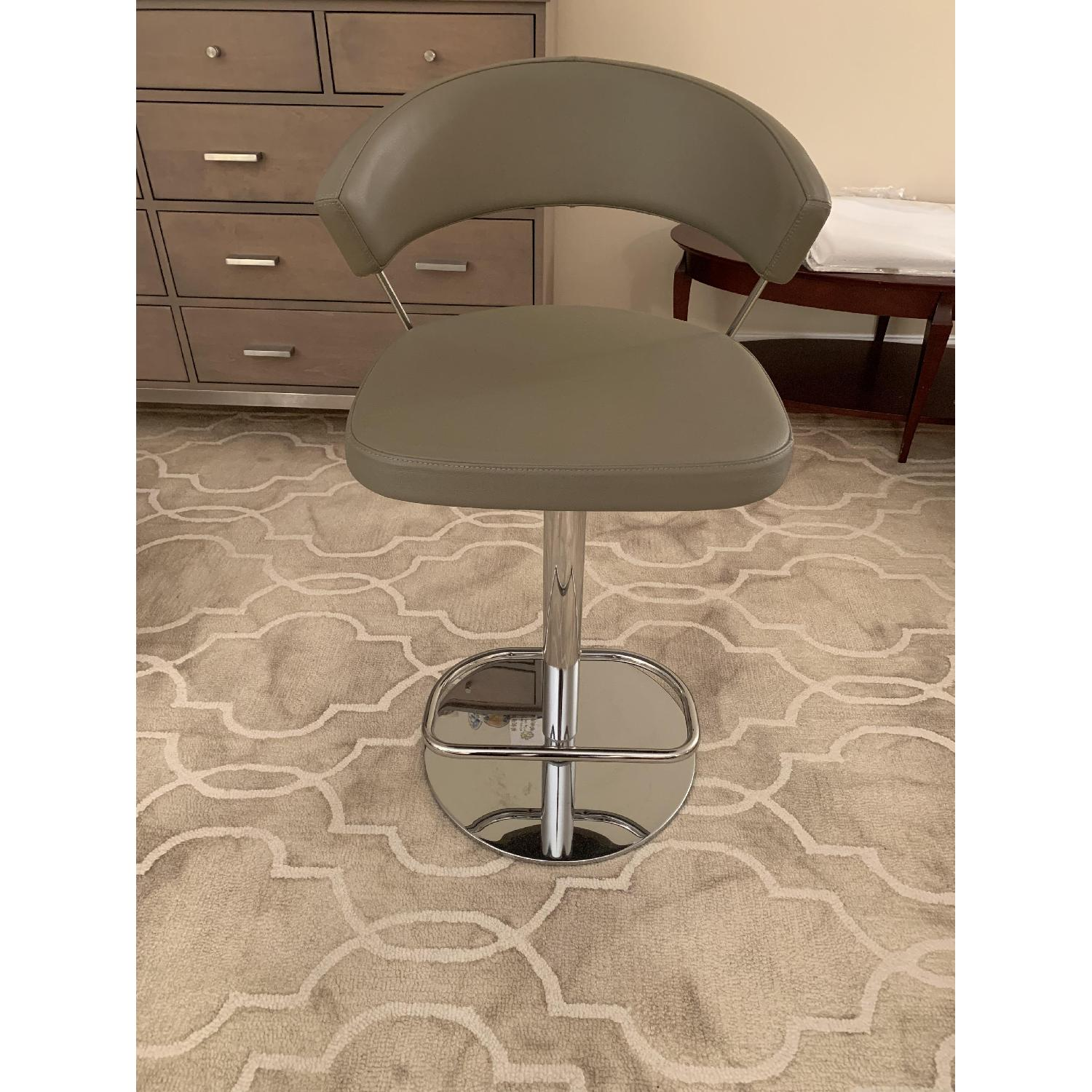 Calligaris Grey Leather Adjustable Stools w/ Backrest - image-1