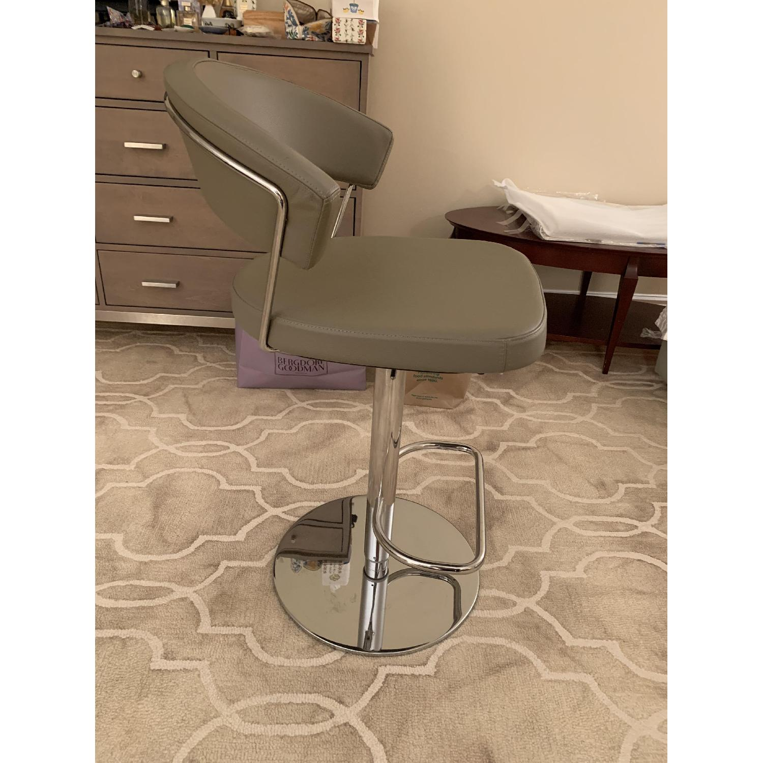 Calligaris Grey Leather Adjustable Stools w/ Backrest - image-3