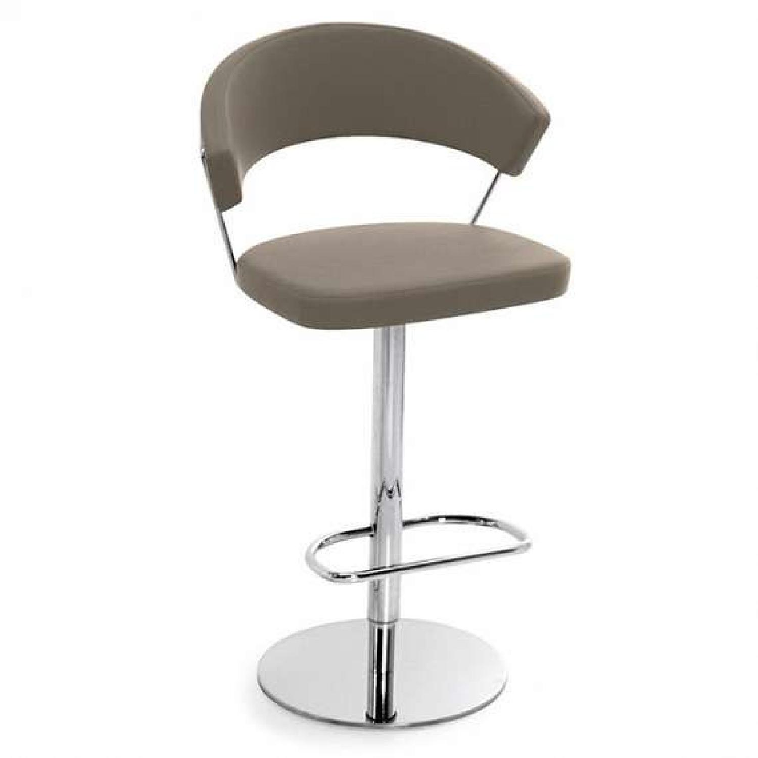 Calligaris Grey Leather Adjustable Stools w/ Backrest - image-0