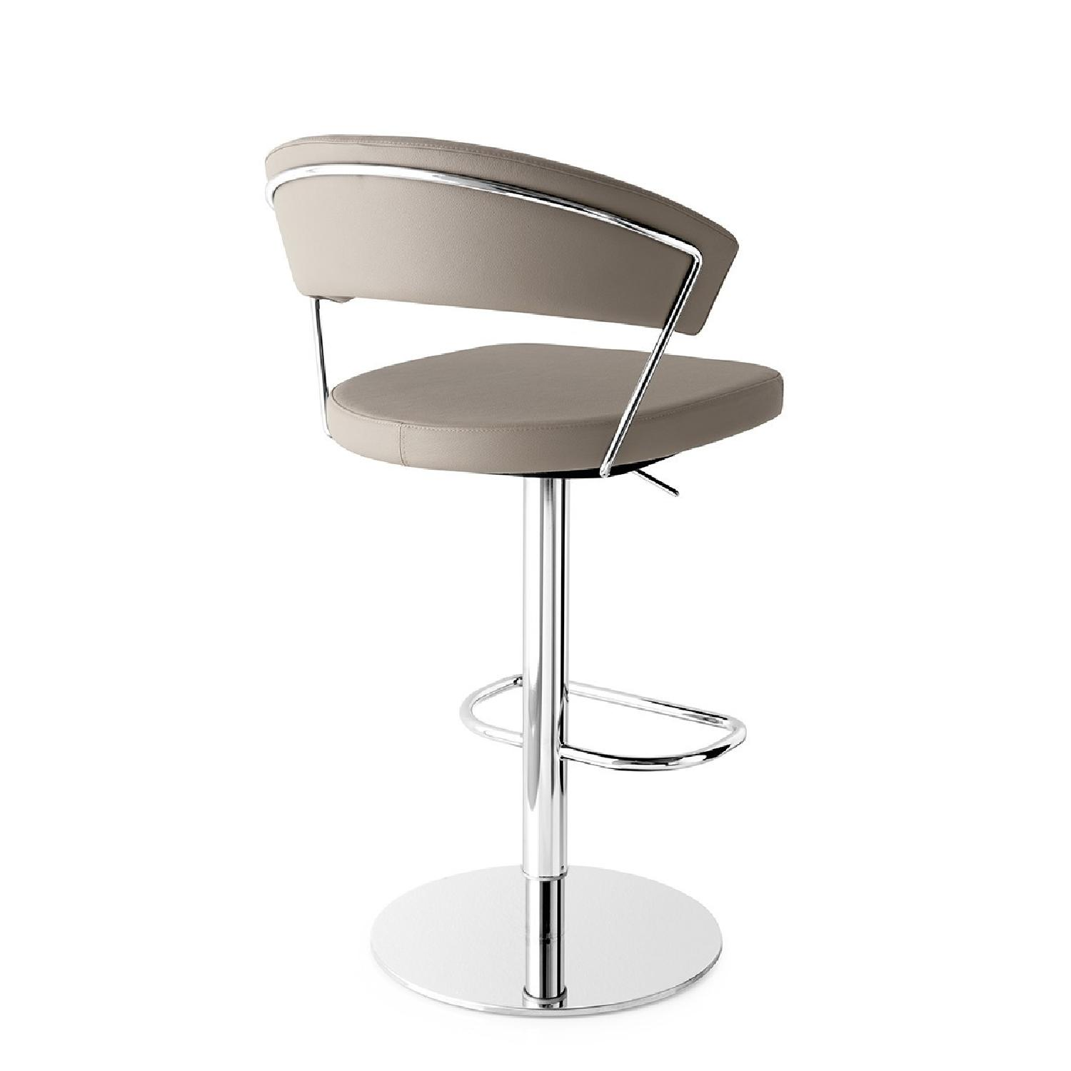Calligaris Grey Leather Adjustable Stools w/ Backrest - image-4