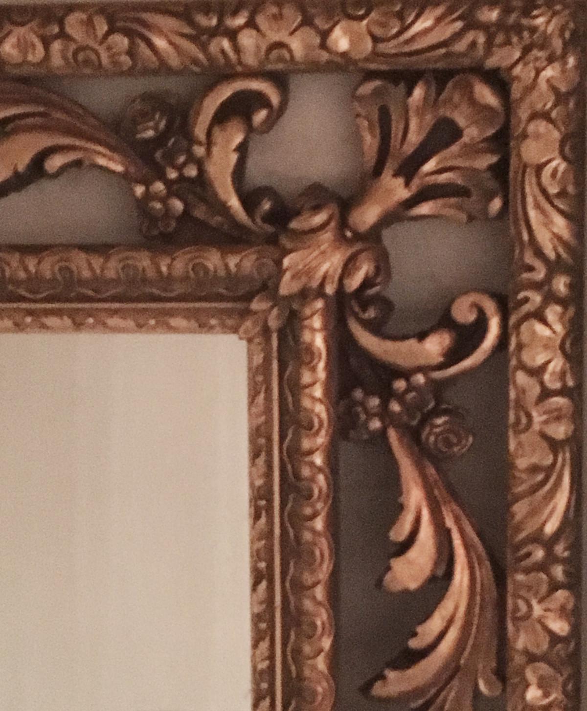 Italian Florentine Antique Hand Carved Giltwood Frame Mirror