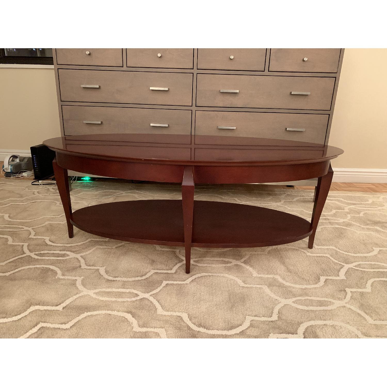 Jofco Dark Brown Wood Coffee Table w/ Shelf - image-1