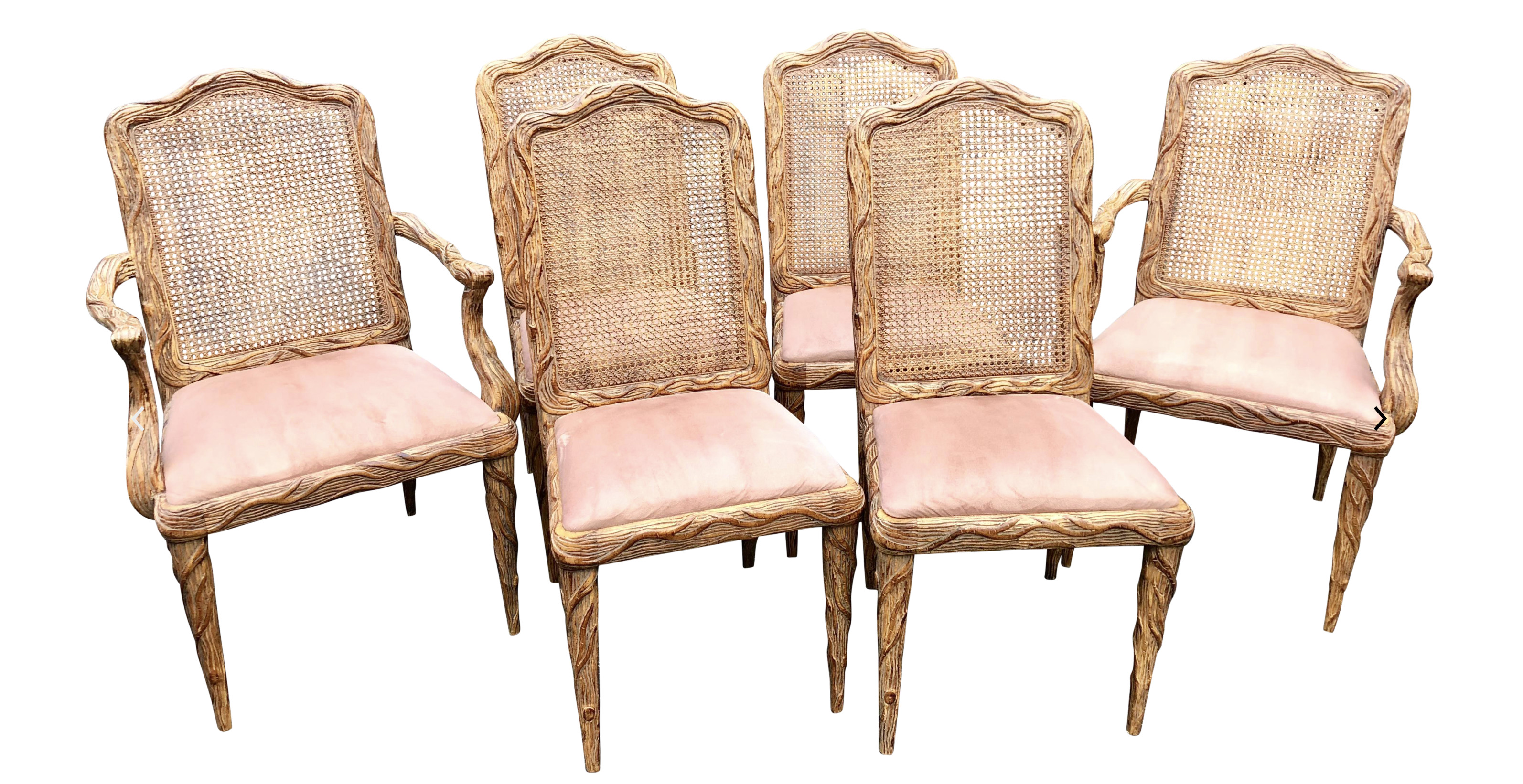 Vintage French Faux Bois Dining Chairs
