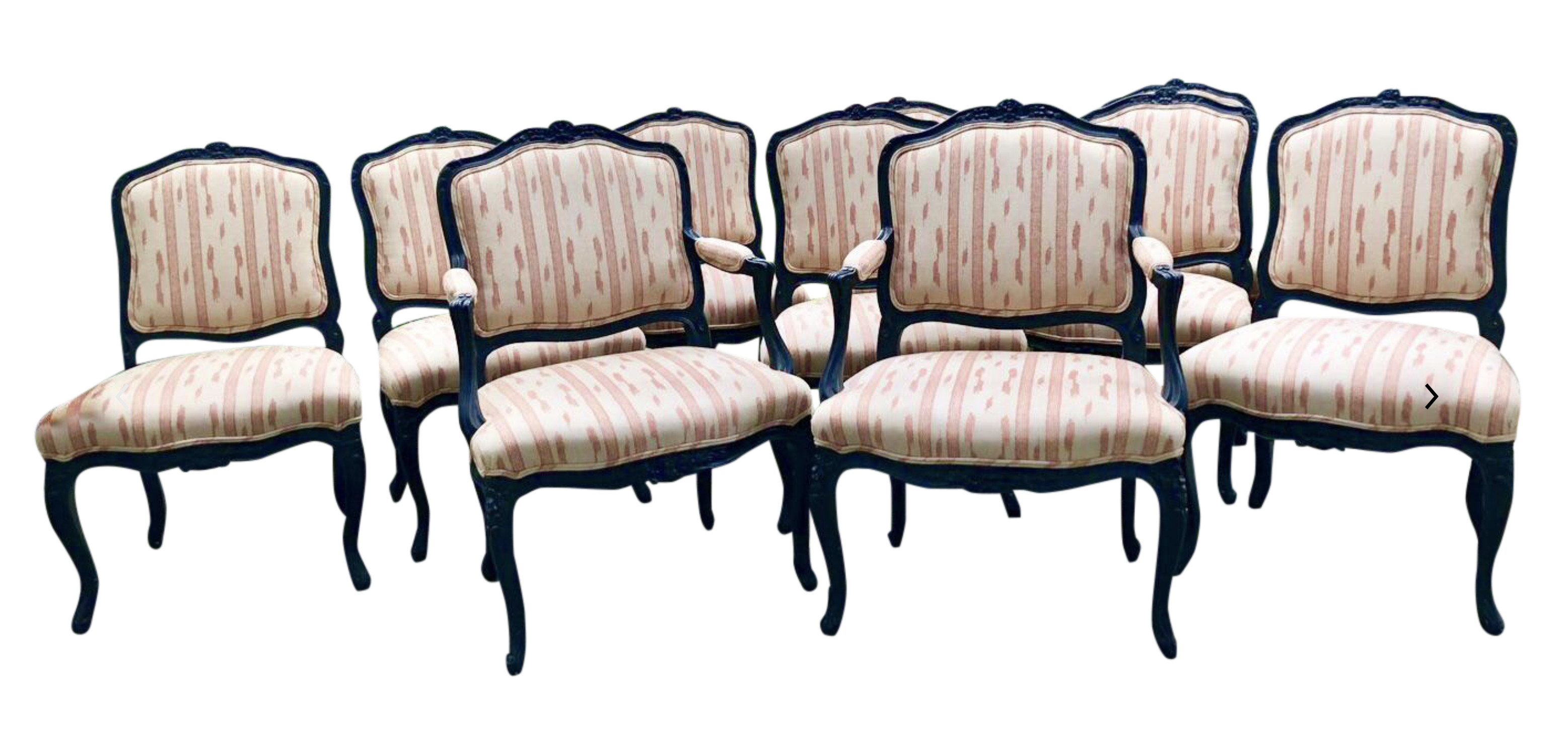 Louis XV Style Black Dining Chairs w/ Ikat Upholstery