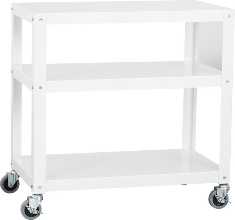 CB2 White Rolling Cart