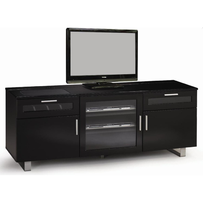 Modern TV Stand in Black Gloss Finish w/ Storage - image-1
