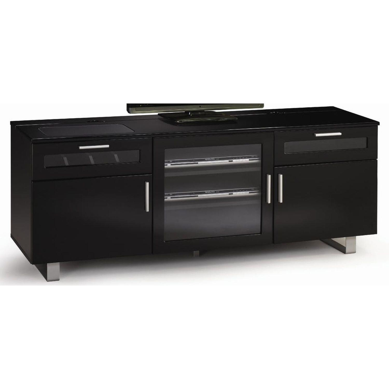 Modern TV Stand in Black Gloss Finish w/ Storage - image-0