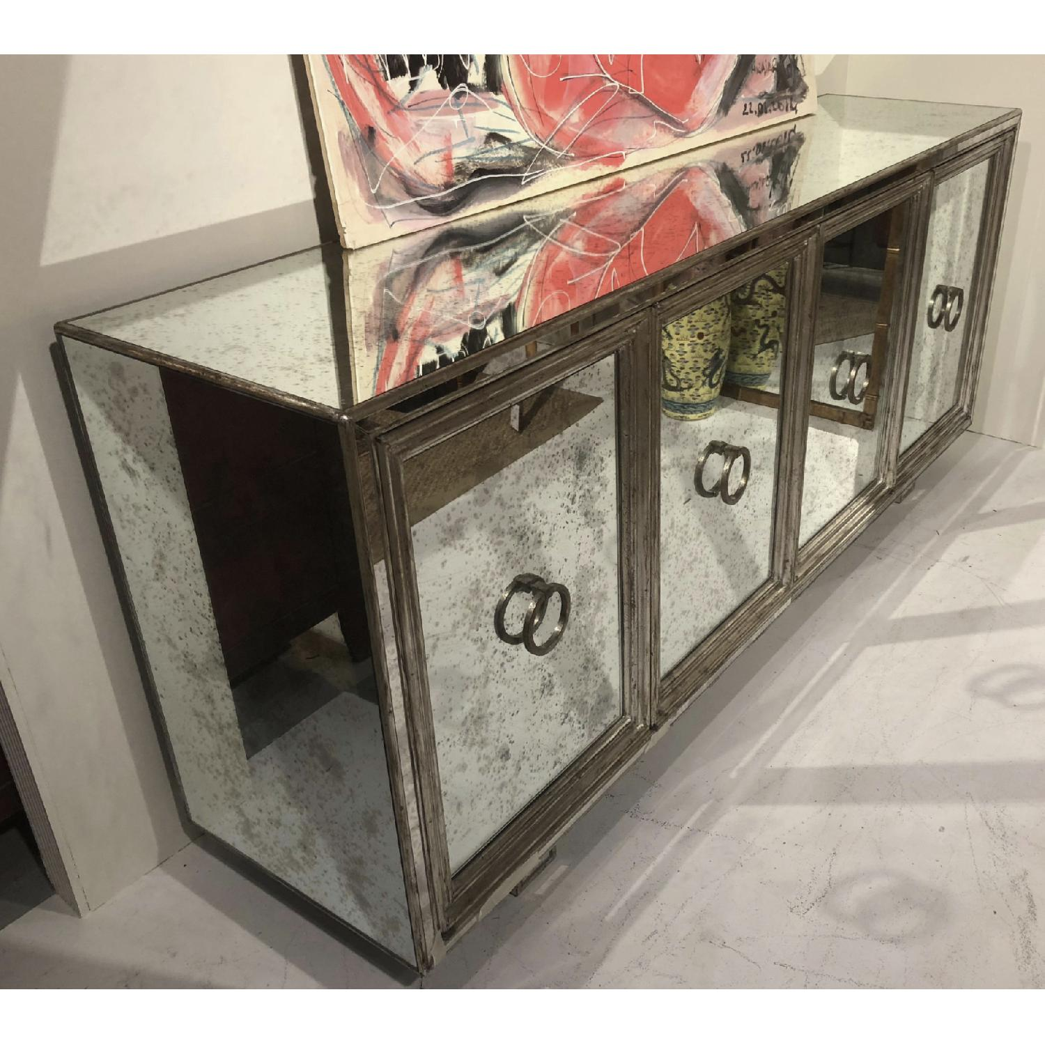 James Mont Silver Leafed Mirrored Credenza - image-4