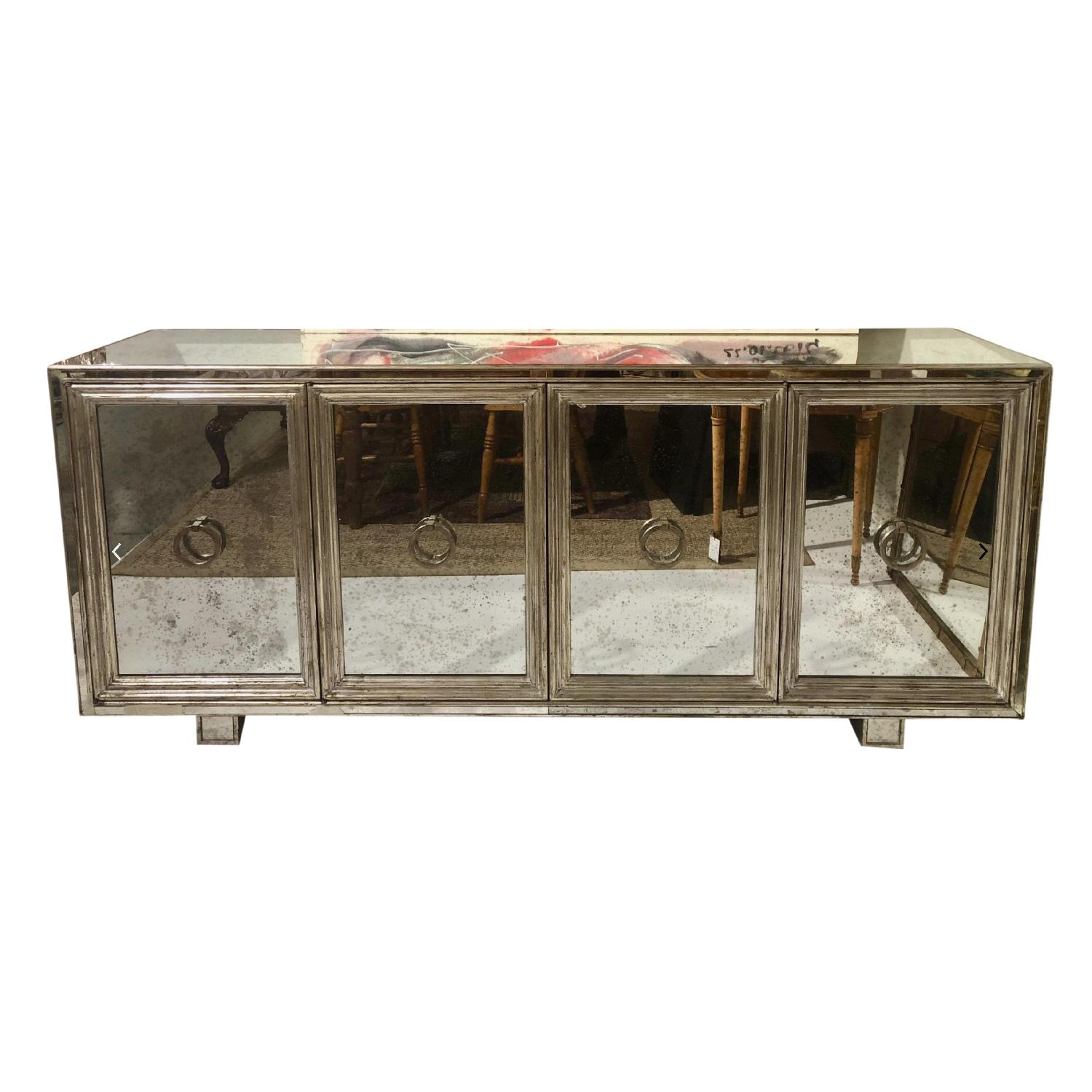 James Mont Silver Leafed Mirrored Credenza - image-0