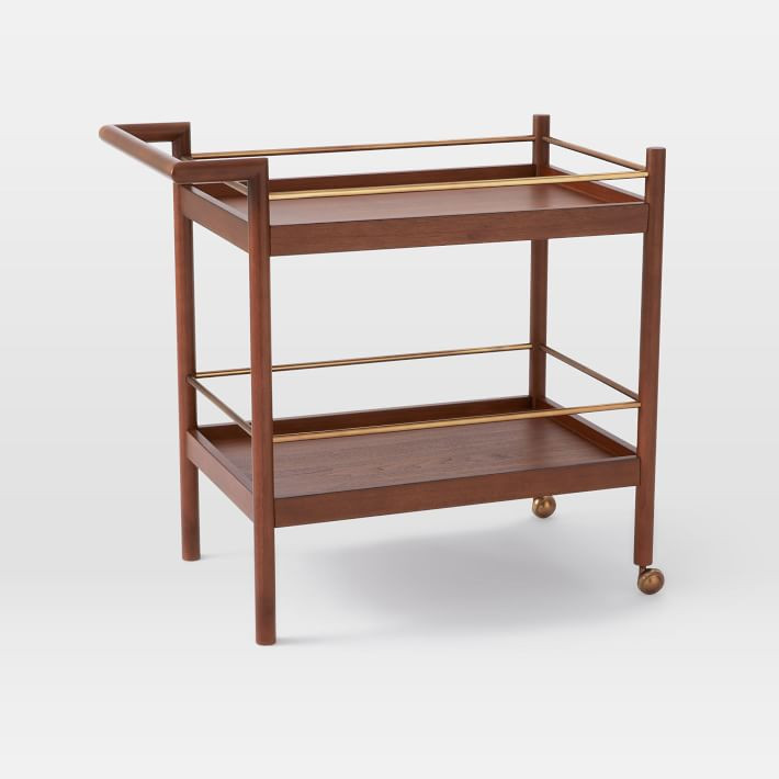 West Elm Walnut Bar Cart