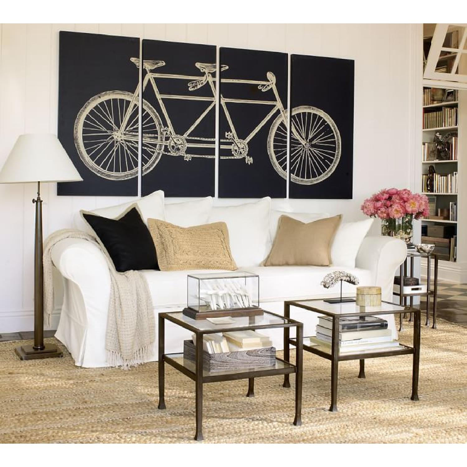Iron Framed Pottery Barn Side Tables with Glass Top & Shelf - image-1
