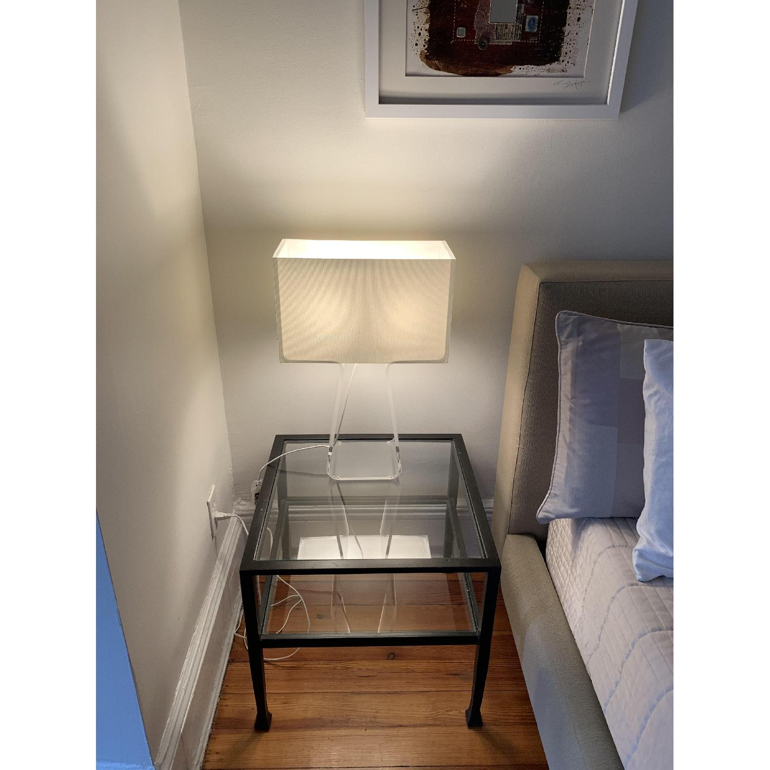 Iron Framed Pottery Barn Side Tables with Glass Top & Shelf - image-3