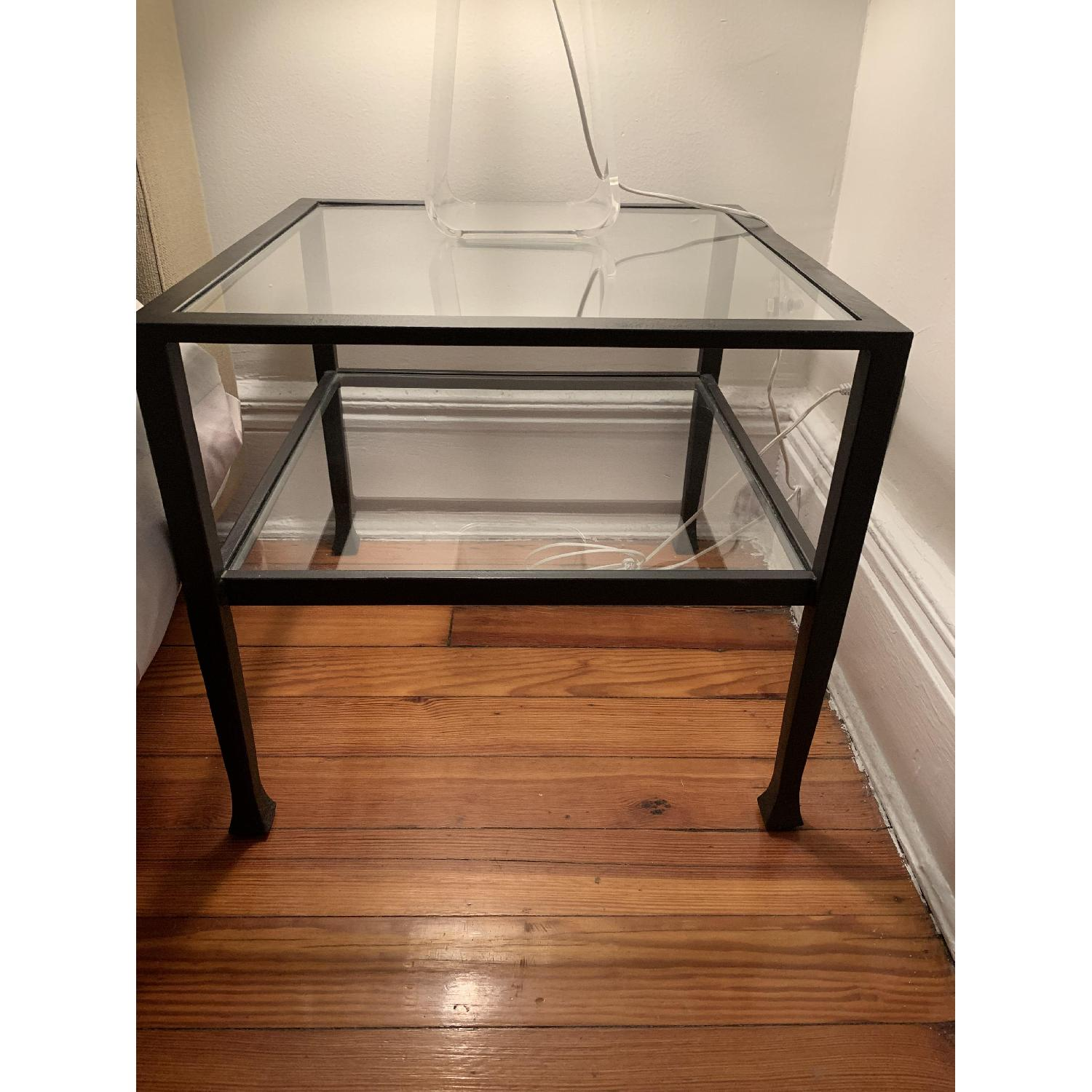 Iron Framed Pottery Barn Side Tables with Glass Top & Shelf - image-5