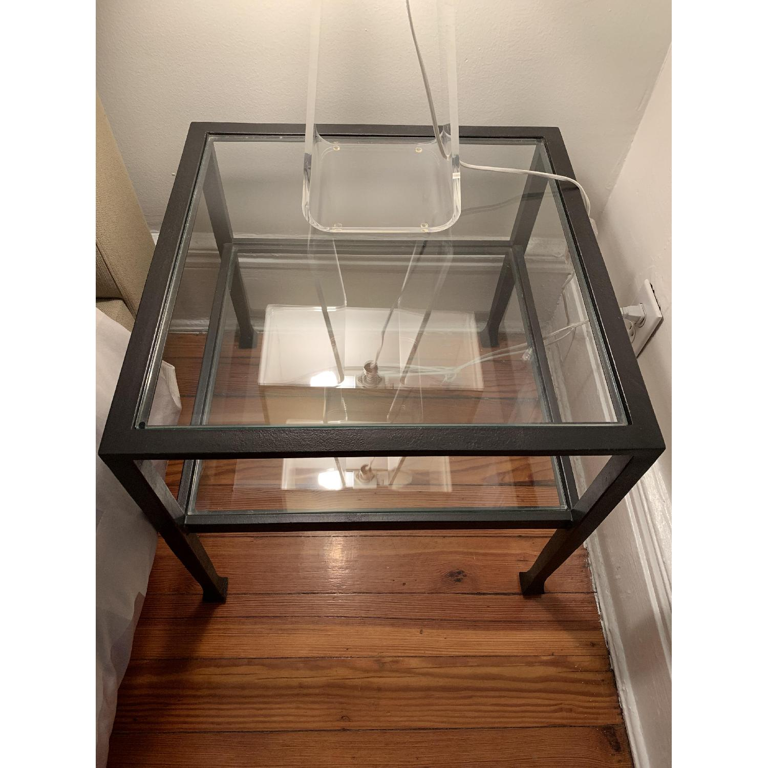 Iron Framed Pottery Barn Side Tables with Glass Top & Shelf - image-6