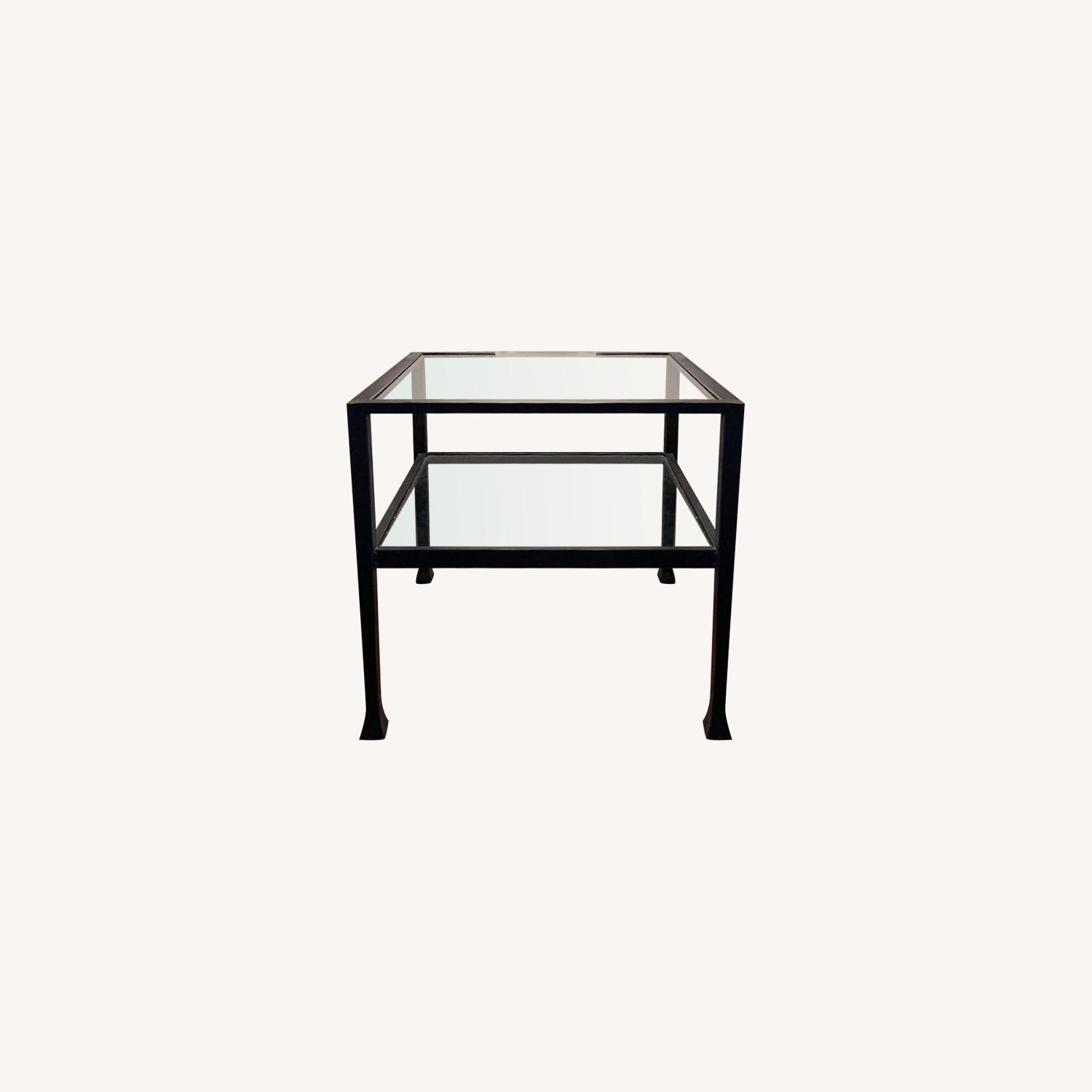 Iron Framed Pottery Barn Side Tables with Glass Top & Shelf - image-0