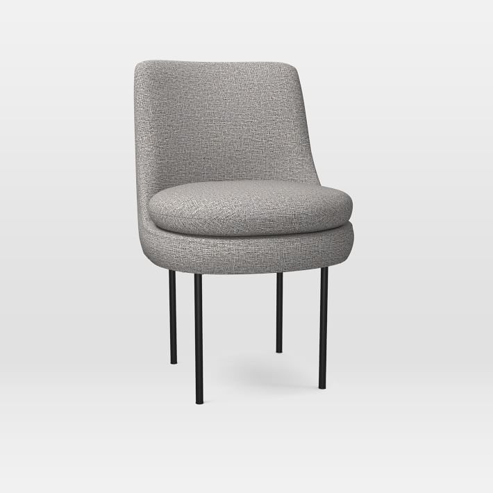 West Elm Leather Upholstered Dining Chair in Feather Grey