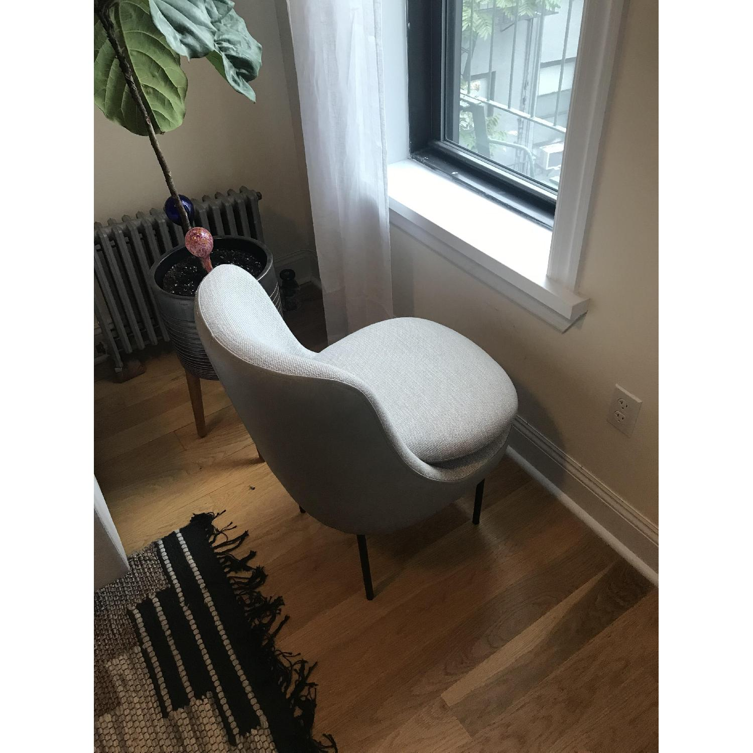 West Elm Leather Upholstered Dining Chair in Feather Grey - image-3