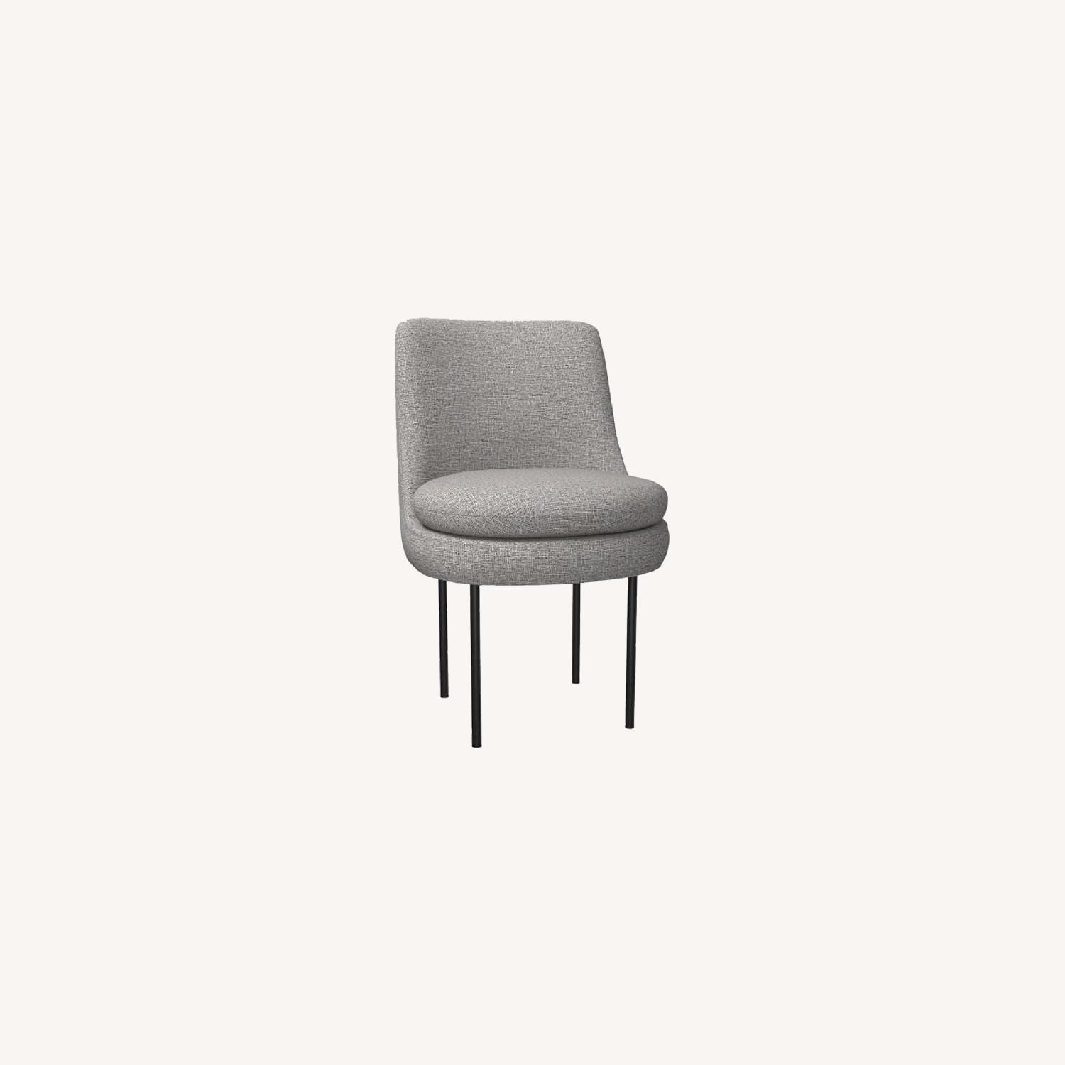 West Elm Leather Upholstered Dining Chair in Feather Grey - image-0