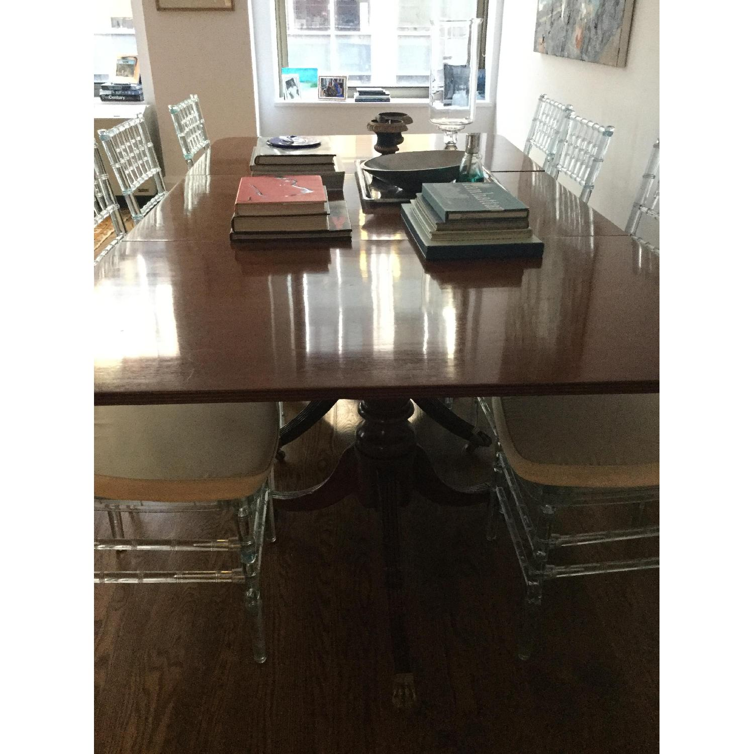 Antique Solid Mahogany 3 Pedestal Dining Table - image-2