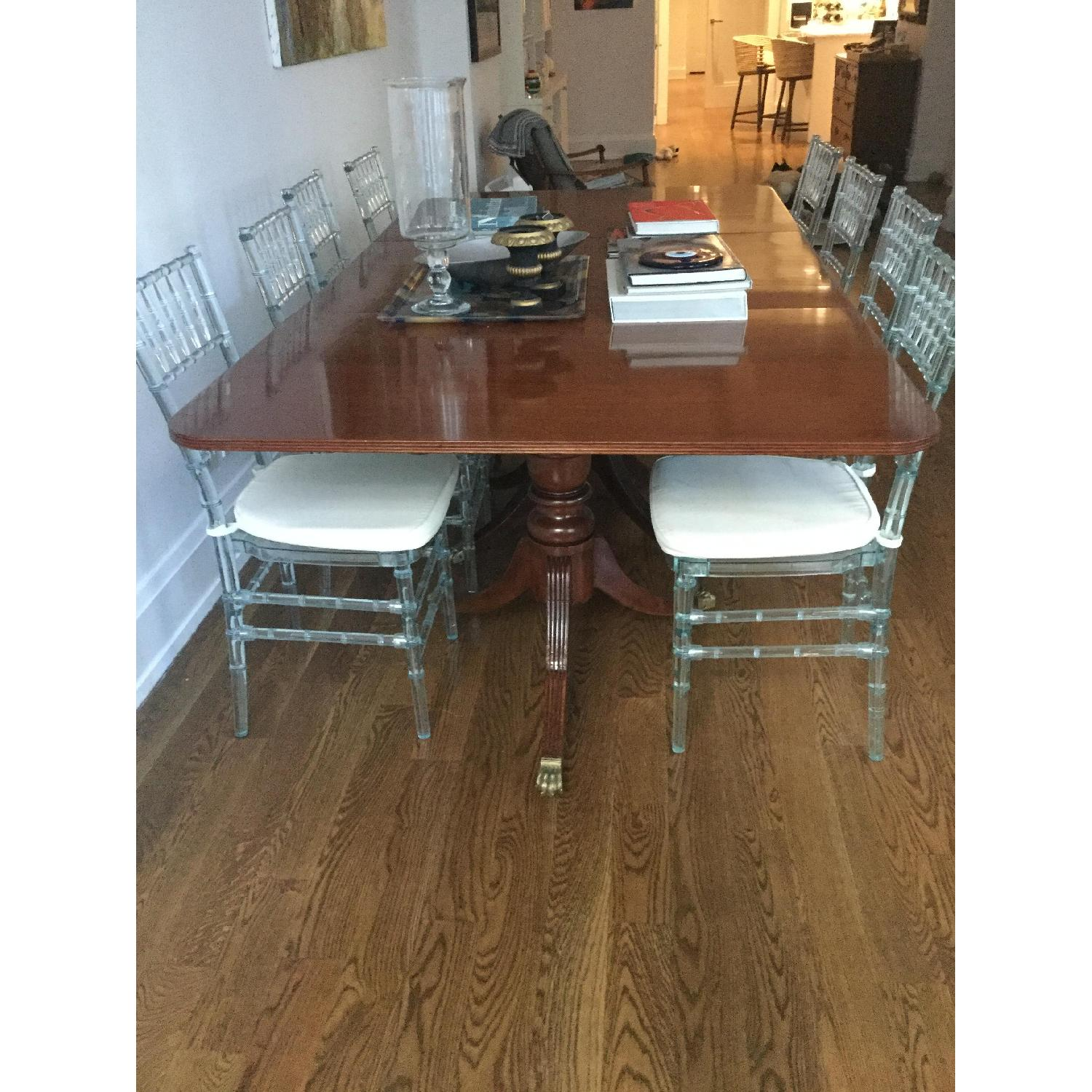 Antique Solid Mahogany 3 Pedestal Dining Table - image-3