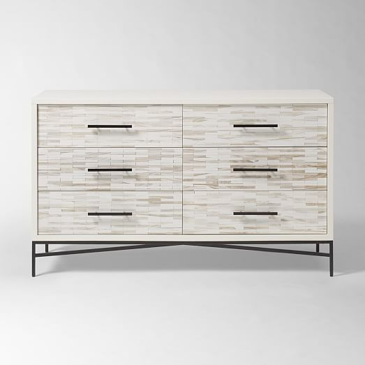 West Elm Whitewash Wood Tiled 6-Drawer Dresser