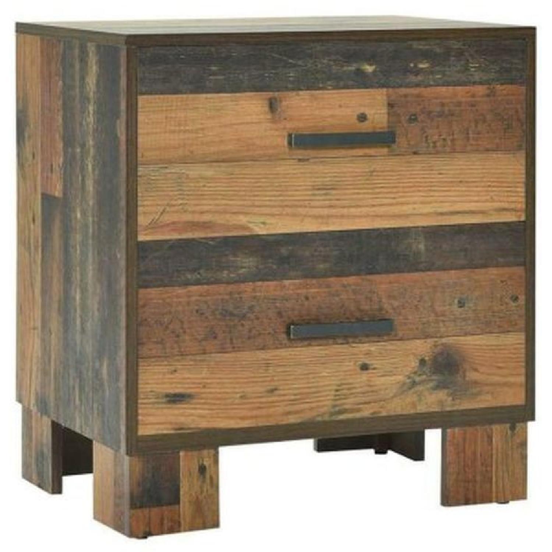 2-Drawer Nightstand in Rustic Pine Finish - image-0