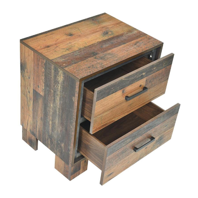 2-Drawer Nightstand in Rustic Pine Finish - image-1