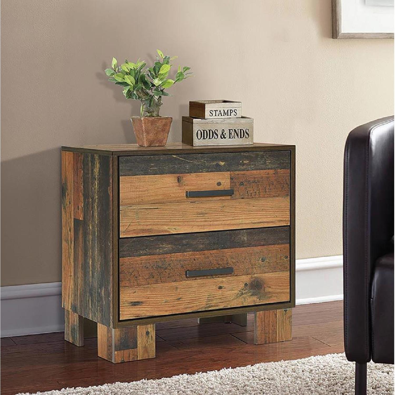 2-Drawer Nightstand in Rustic Pine Finish - image-4