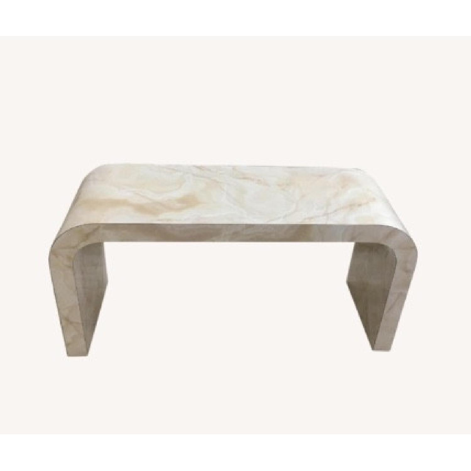 Mid Century Art Deco Faux Marble Console Table - image-0