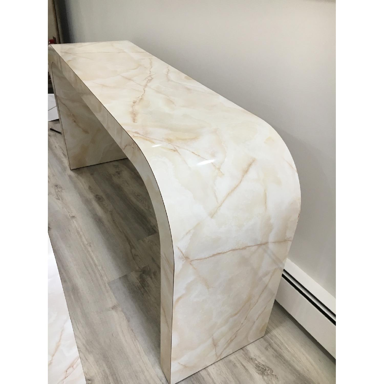 Mid Century Art Deco Faux Marble Console Table - image-1