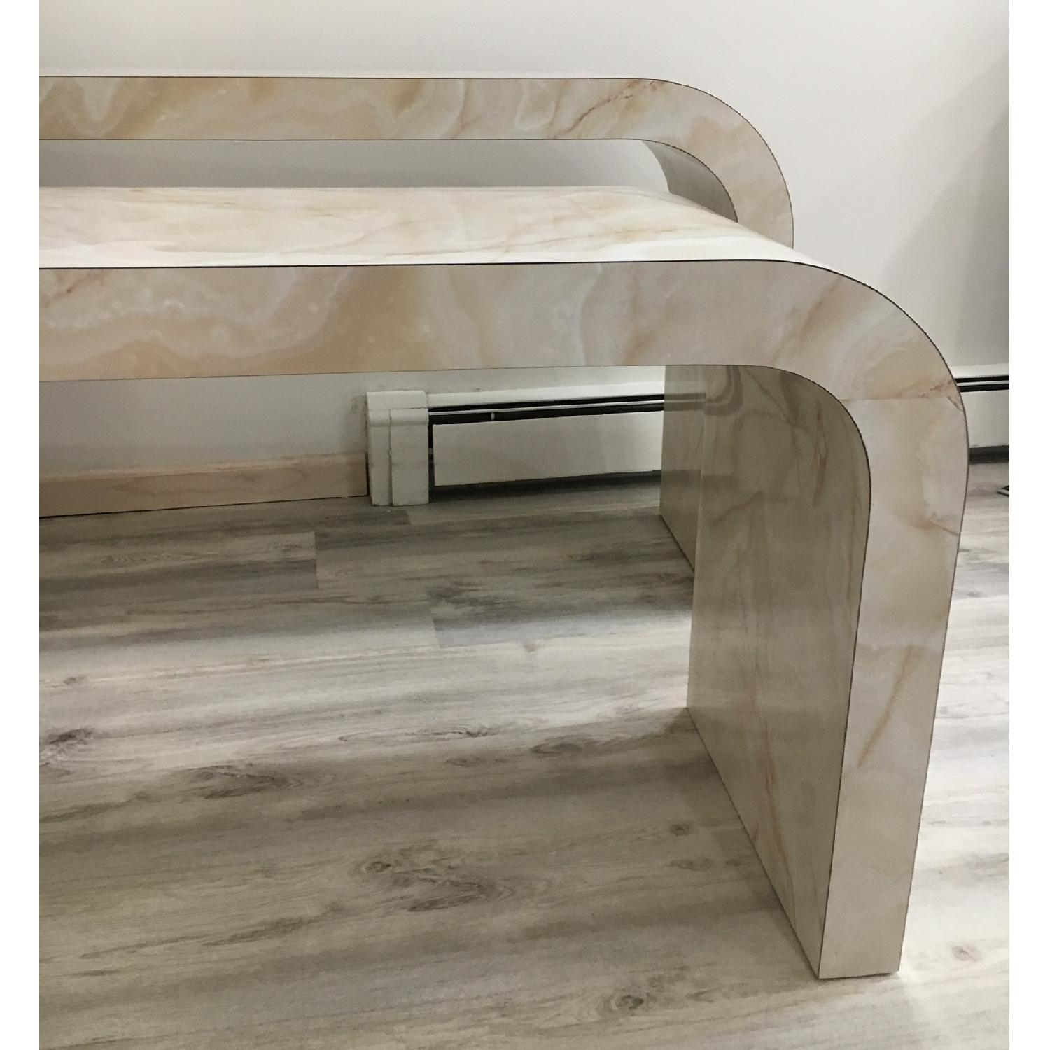 Mid Century Art Deco Faux Marble Console Table - image-4