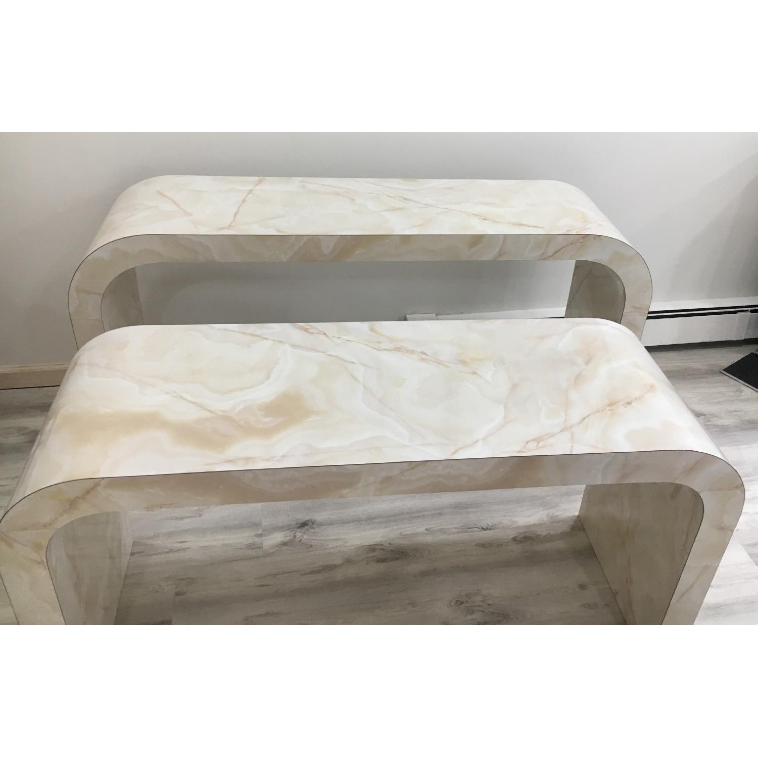 Mid Century Art Deco Faux Marble Console Table - image-6