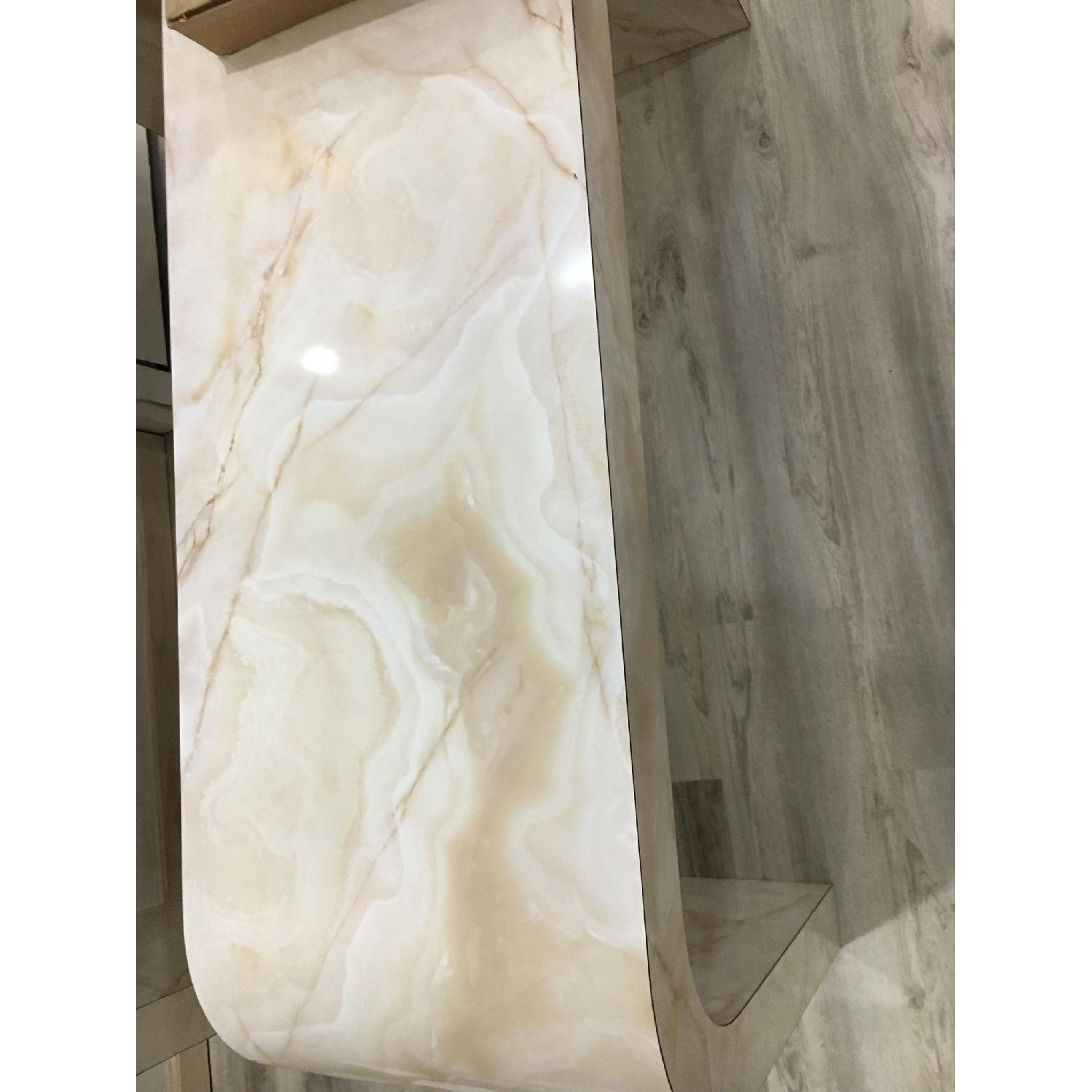 Mid Century Art Deco Faux Marble Console Table - image-5