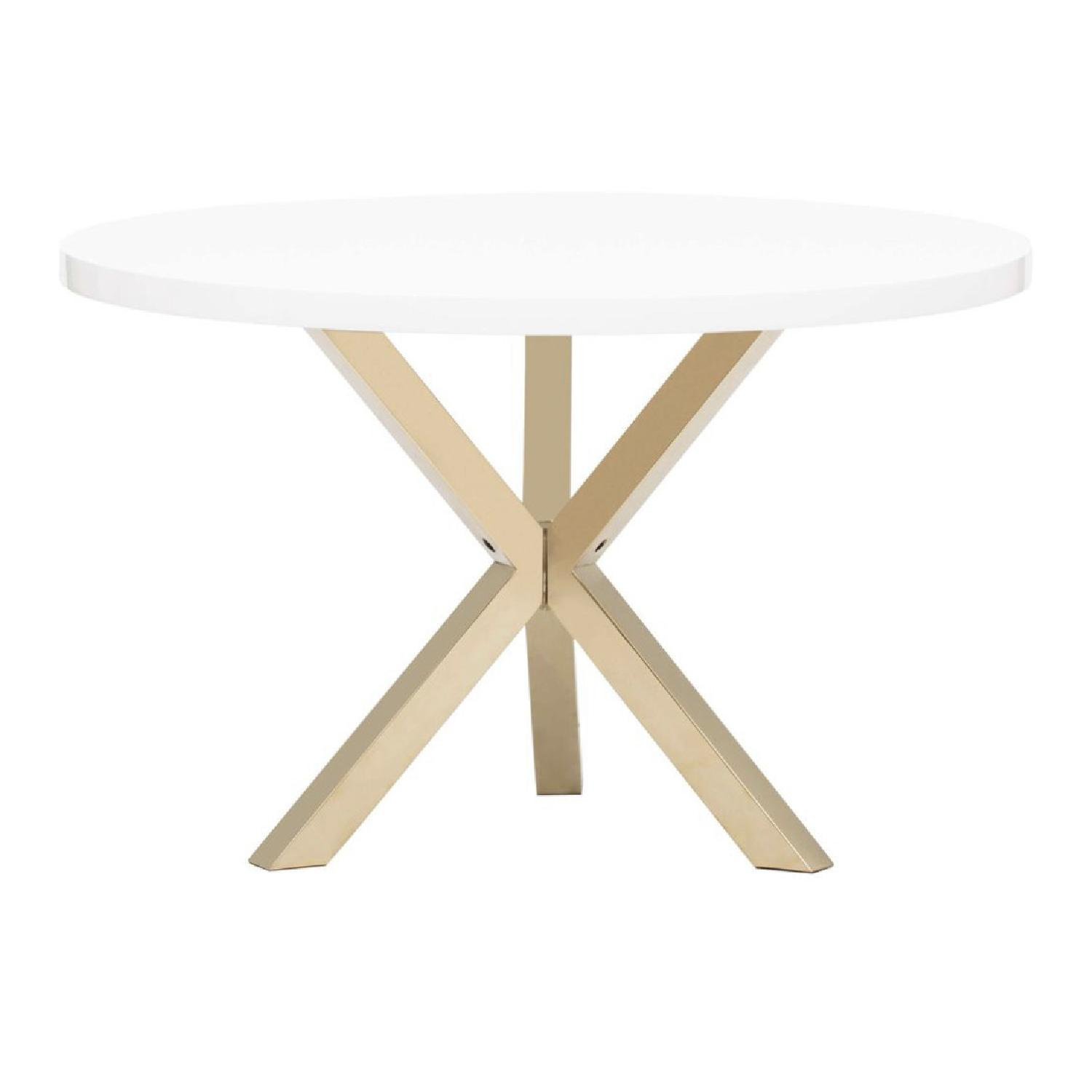 High Fashion Home White & Gold Dining Table - image-1