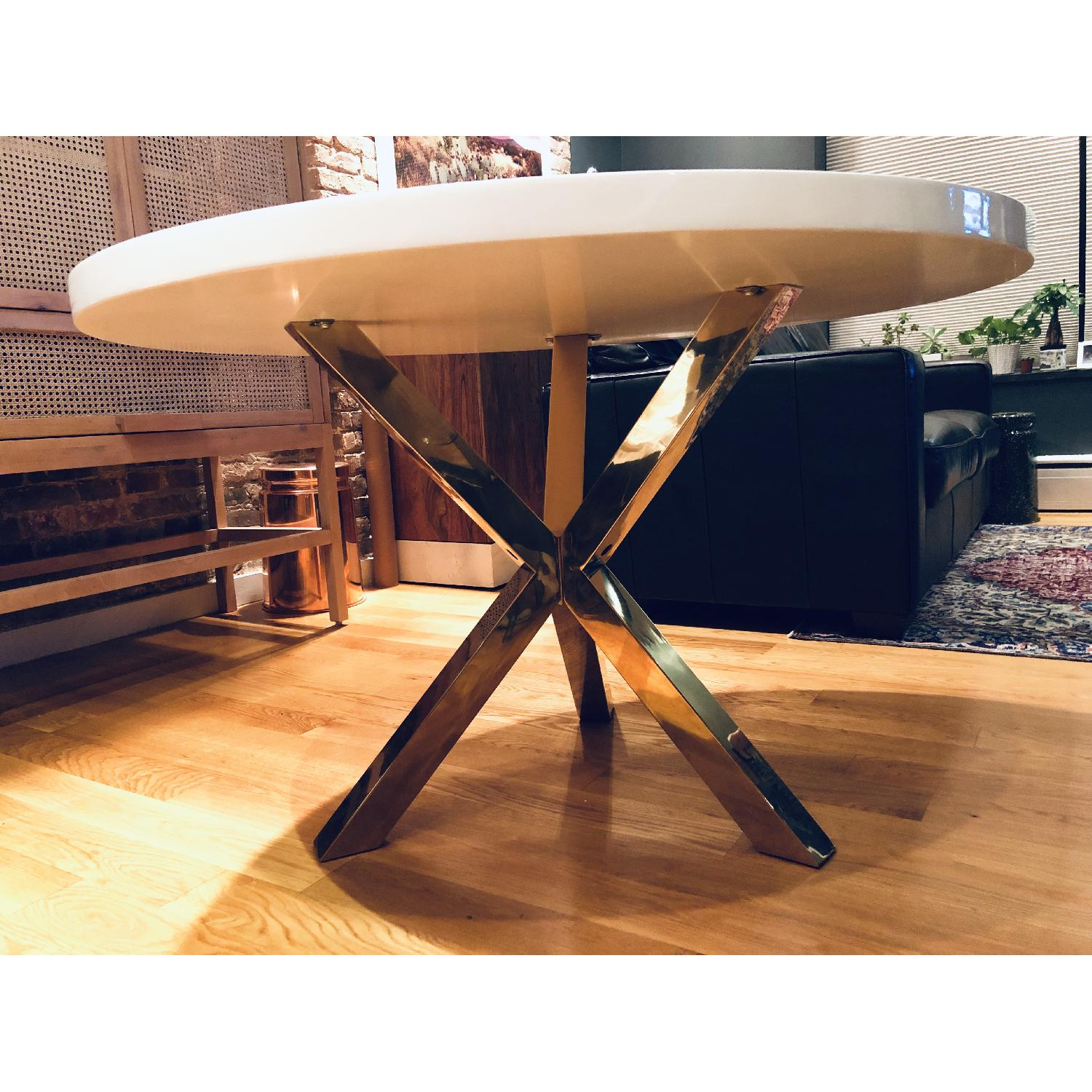 High Fashion Home White & Gold Dining Table - image-2
