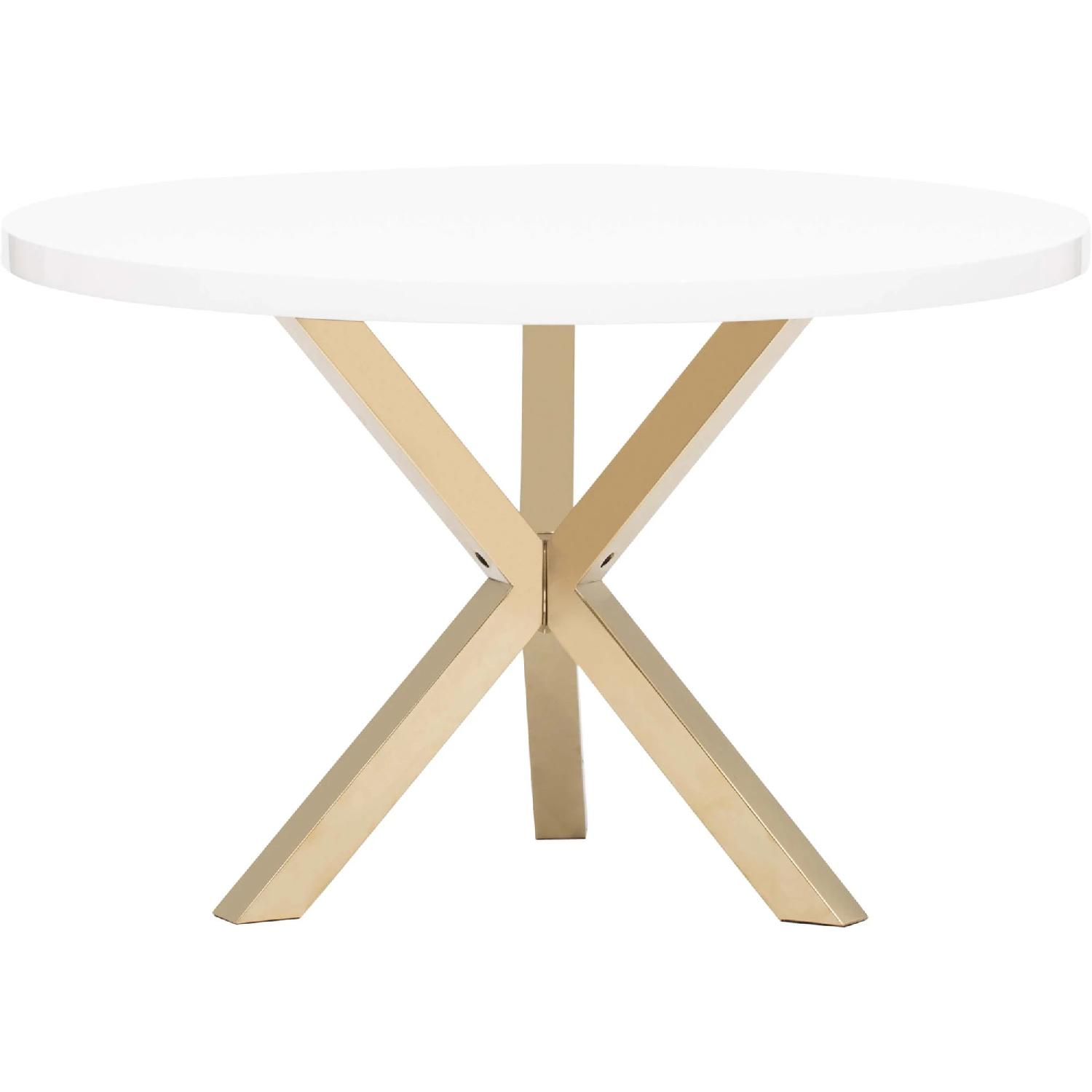 High Fashion Home White & Gold Dining Table - image-0