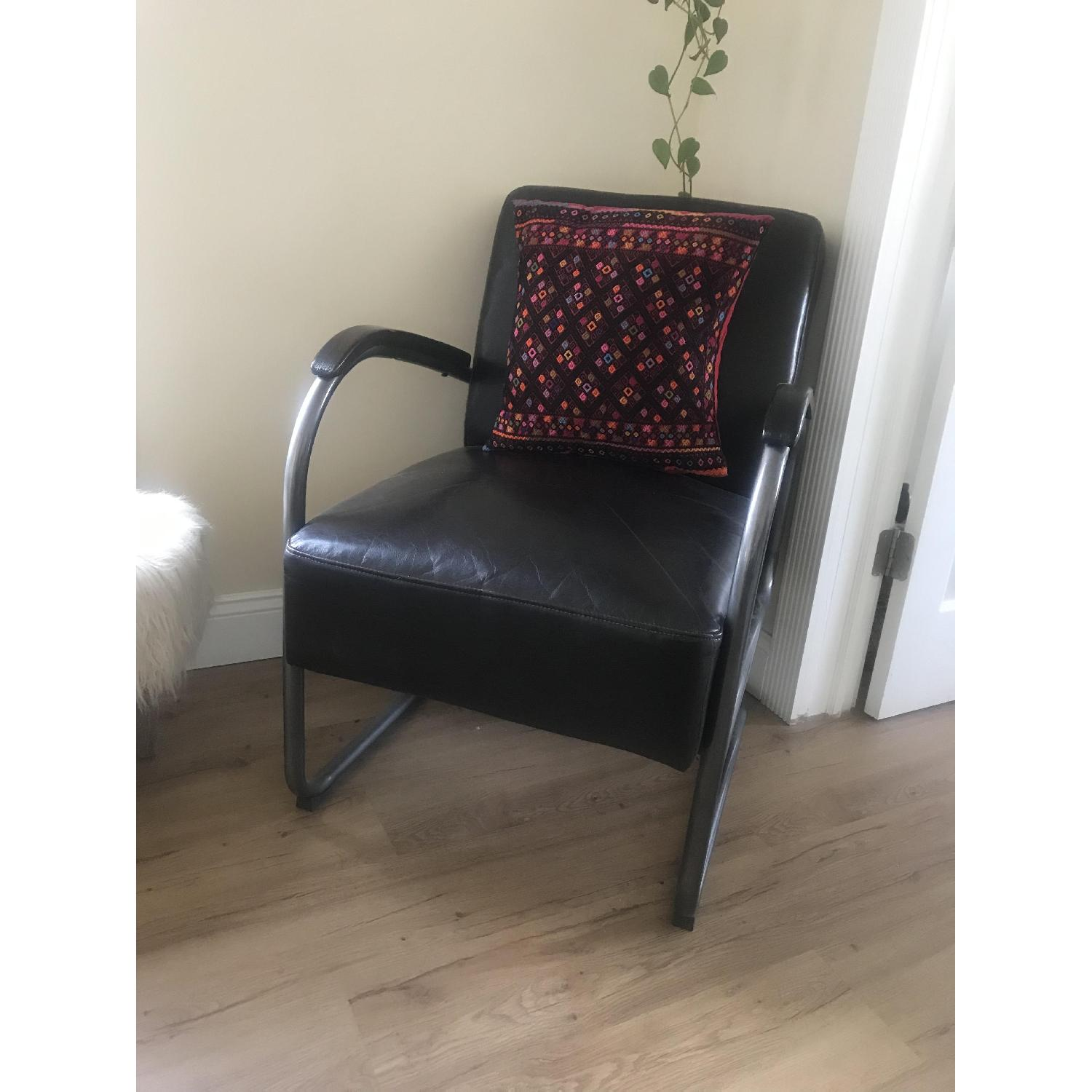 Brown Faux Leather Arm Chair - image-4