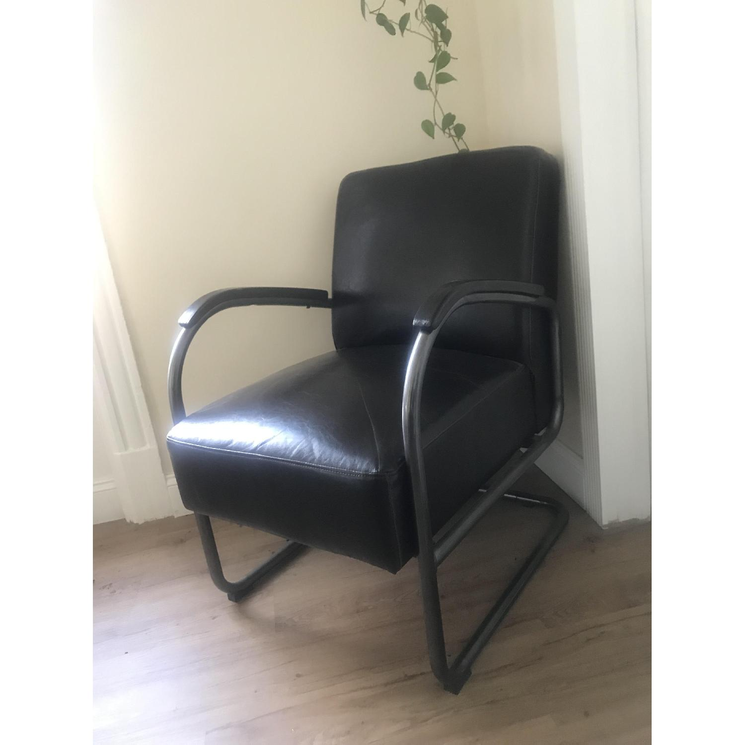 Brown Faux Leather Arm Chair - image-2