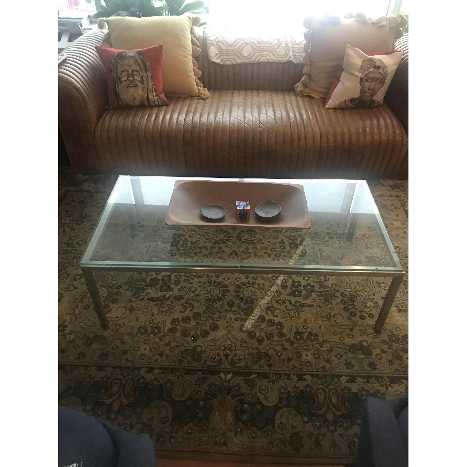 Room & Board Glass Top Coffee Table w/ Stainless Steel Legs - image-1