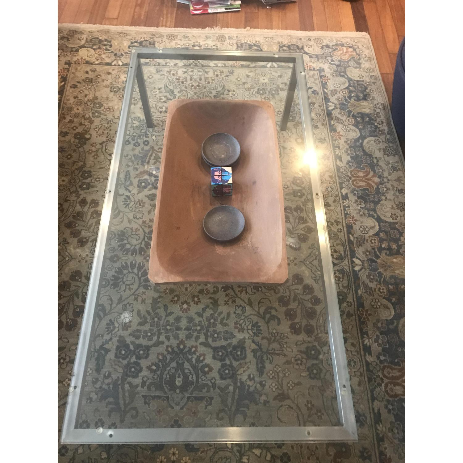 Room & Board Glass Top Coffee Table w/ Stainless Steel Legs - image-2