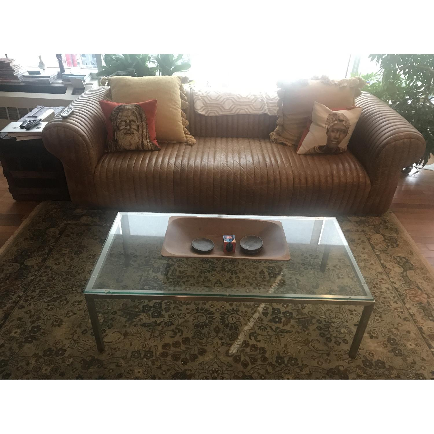 Room & Board Glass Top Coffee Table w/ Stainless Steel Legs - image-4