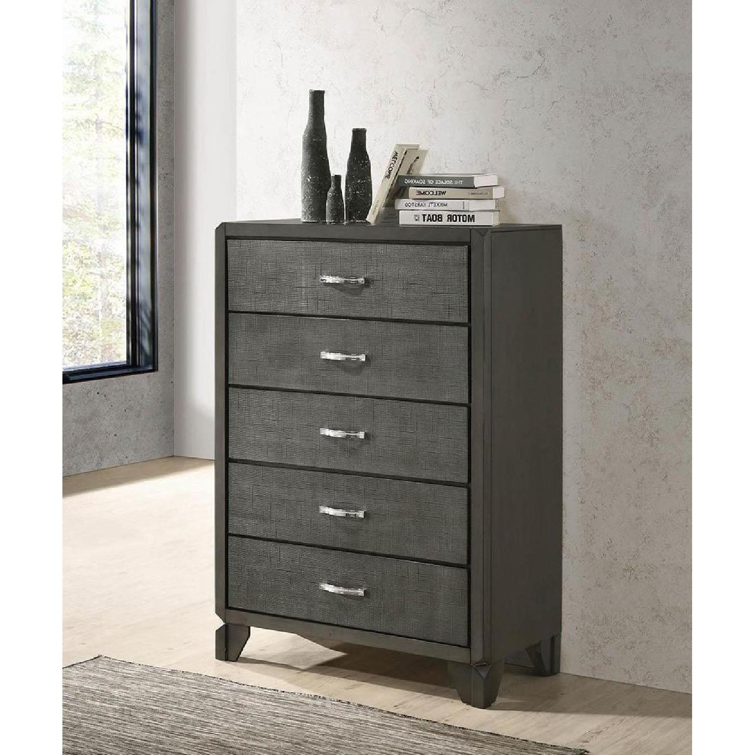 5-Drawer Chest in Caviar Finish w/ Woven Texture Front - image-4