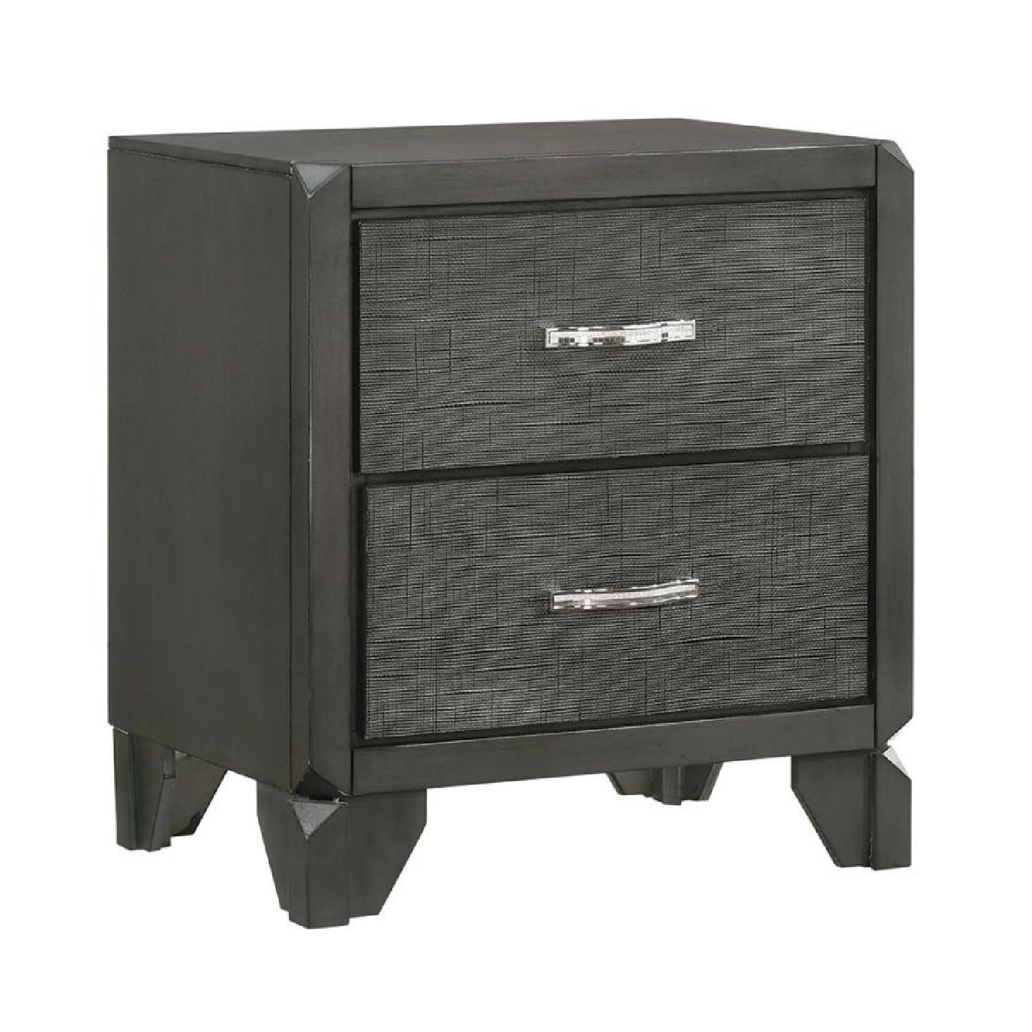 2-Drawer Nightstand in Caviar Finish w/ Woven Texture Front - image-0