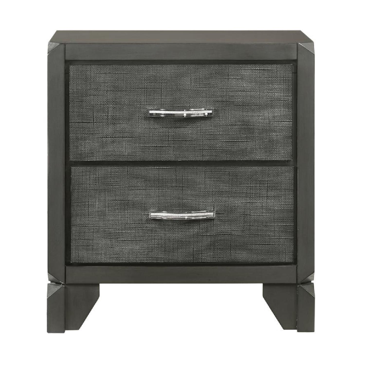 2-Drawer Nightstand in Caviar Finish w/ Woven Texture Front - image-2
