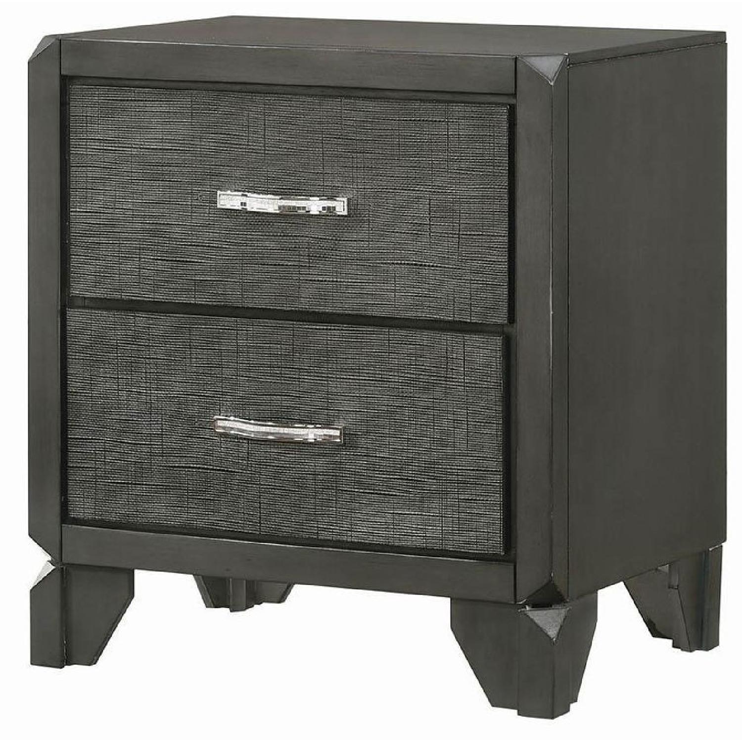 2-Drawer Nightstand in Caviar Finish w/ Woven Texture Front - image-5